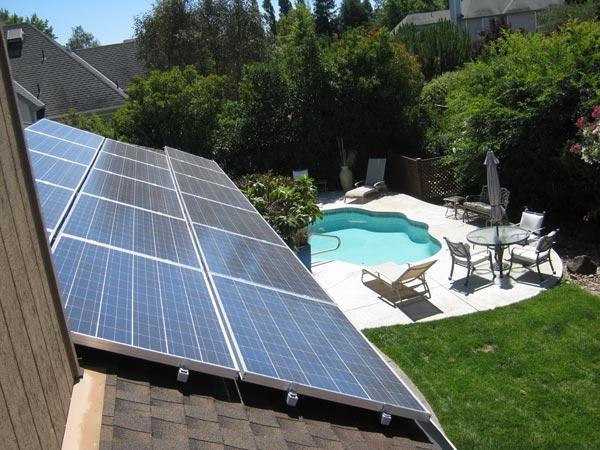 Residential Solar Panels in Backyard