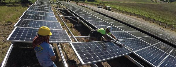 Westcoast Solar Energy installing Solar Panels at Italics Winery in Napa, CA