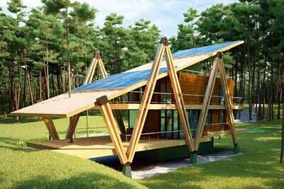 solar home example in the woods